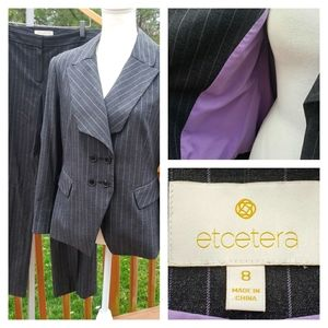 Etcetera Pin Stripe Pant Suit Double Breasted
